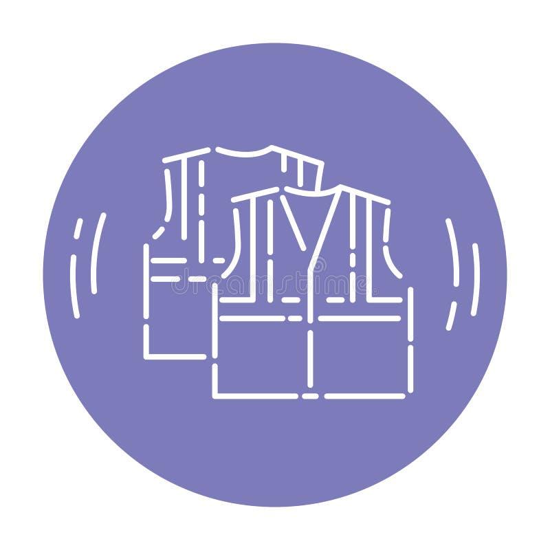 Linje symbol, detaljerat vektortecken för väst för vägarbetararbete stock illustrationer