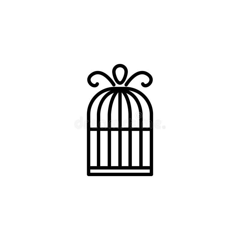 Linje symbol Fågelbursymbol royaltyfri illustrationer