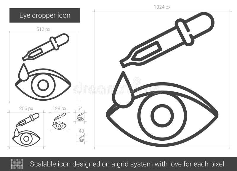 Linje symbol för ögondroppglass vektor illustrationer