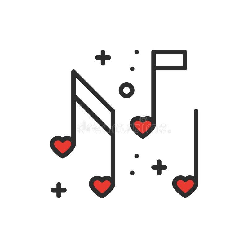 Linje symbol för anmärkningar för förälskelsemusikhjärta Tecken och symbol Tema för parti för klubba för diskodansuteliv Grundläg vektor illustrationer