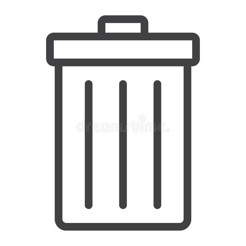 Linje symbol för avfallfack, rengöringsduk och mobil, borttagningstecken stock illustrationer