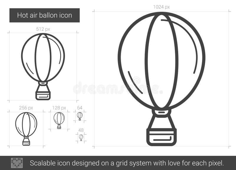 Linje symbol för ballong för varm luft vektor illustrationer