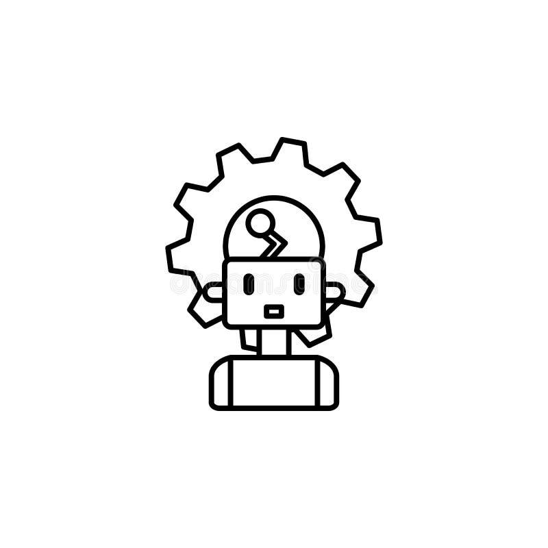 Linje symbol för begrepp för maskinrobot smart Enkel beståndsdelillustration Design för symbol för översikt för maskinrobotbegrep royaltyfri illustrationer