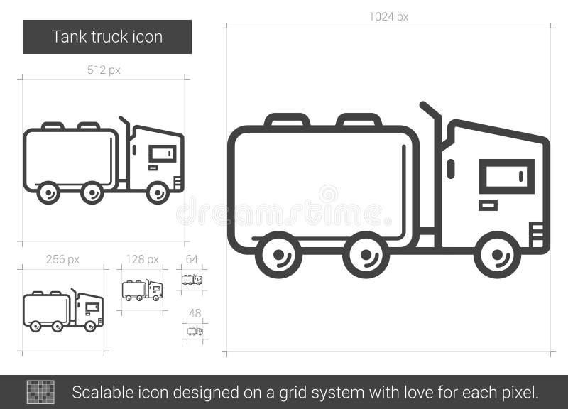 Linje symbol för behållarelastbil stock illustrationer