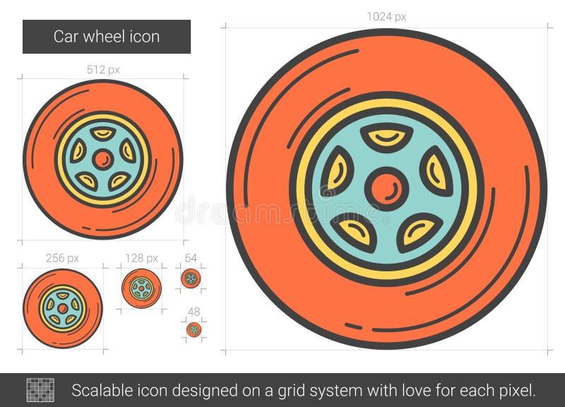 Linje symbol för bilhjul stock illustrationer