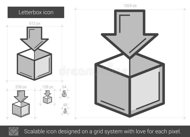 Linje symbol för bokstavsask vektor illustrationer