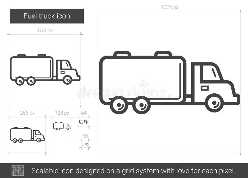 Linje symbol för bränslelastbil royaltyfri illustrationer