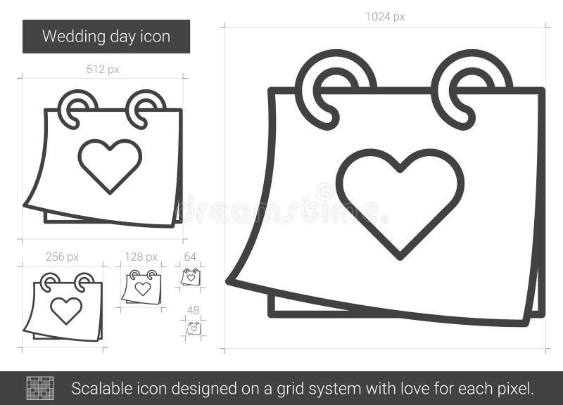 Linje symbol för bröllopdag stock illustrationer