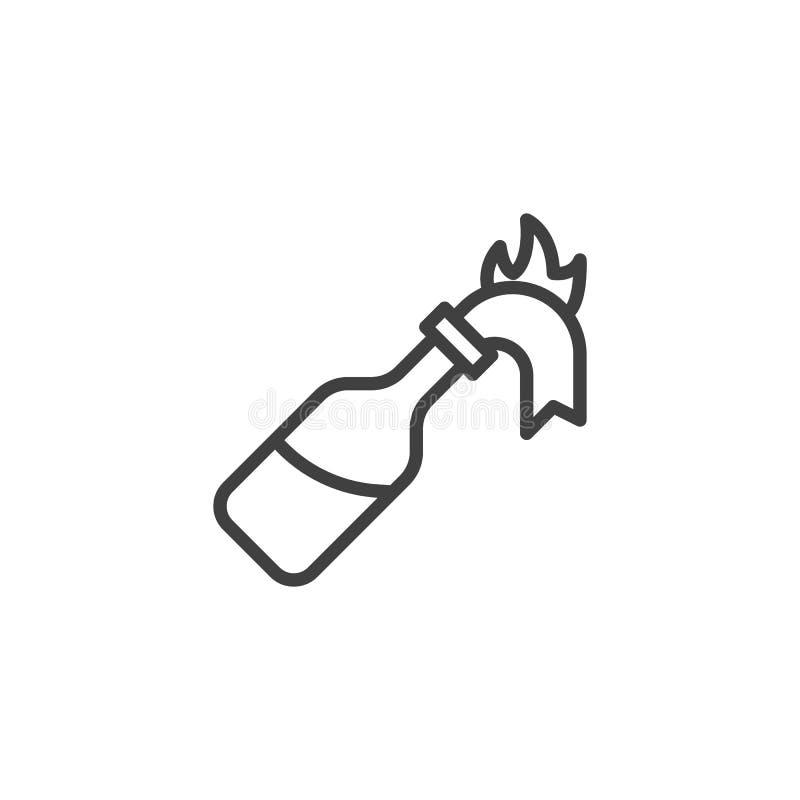 Linje symbol för brandcoctailflaska royaltyfri illustrationer