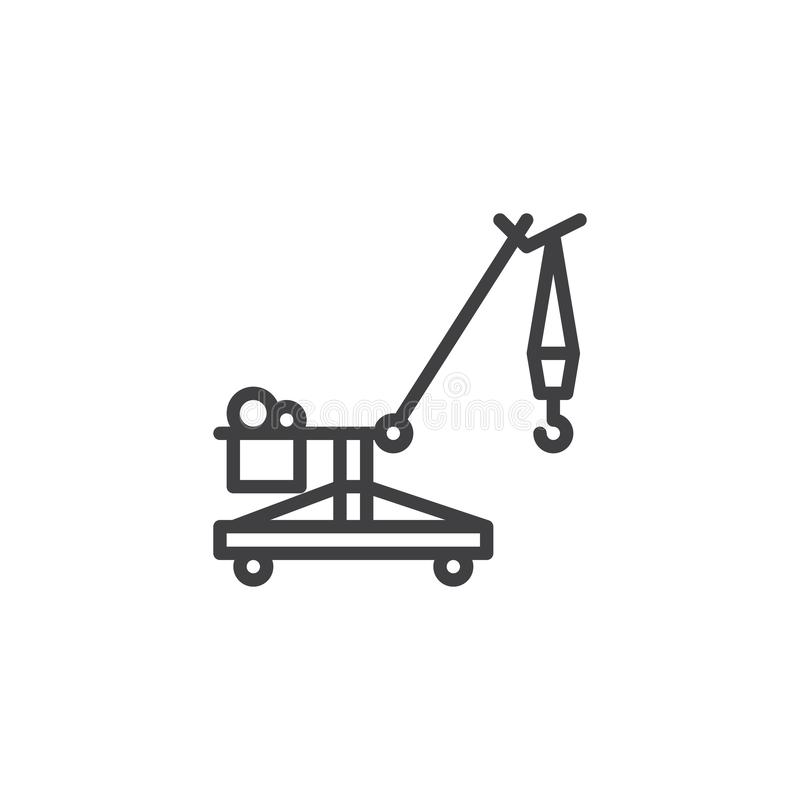 Linje symbol för crawlsimmarekran royaltyfri illustrationer