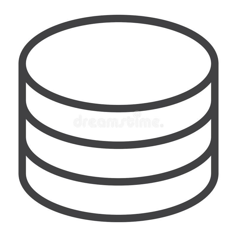 Linje symbol för datalagring, rengöringsduk och mobil, databas stock illustrationer