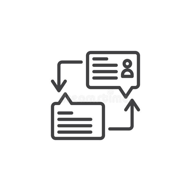 Linje symbol för dialoganförandebubblor royaltyfri illustrationer