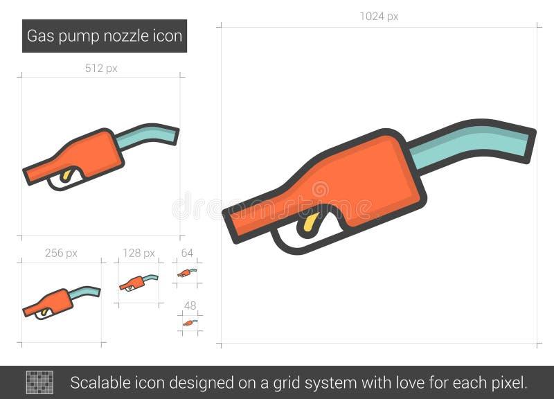 Linje symbol för dysa för gaspump vektor illustrationer