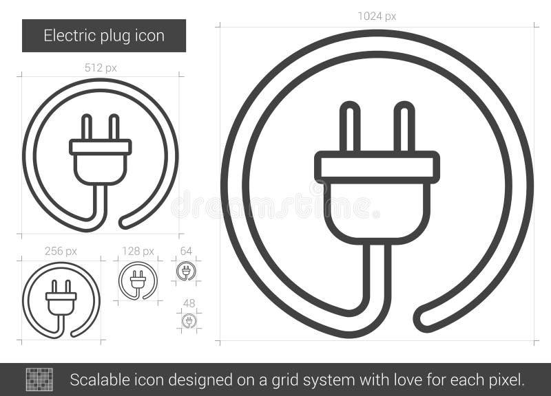 Linje symbol för elektrisk propp stock illustrationer