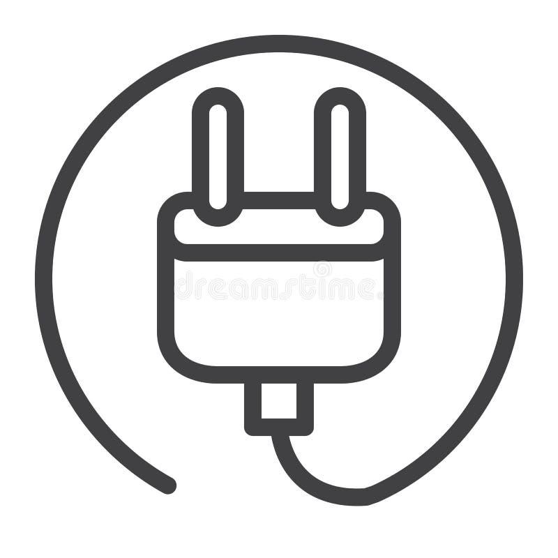 Linje symbol för elektrisk propp royaltyfri illustrationer