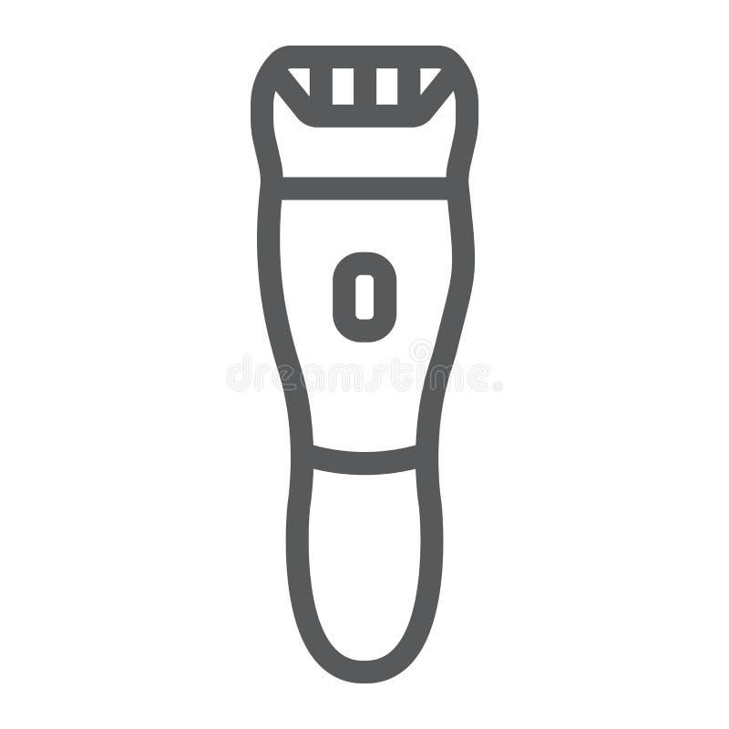 Linje symbol för elektrisk rakapparat, barberare och frisyr, hairclippertecken, vektordiagram, en linjär modell på ett vitt vektor illustrationer