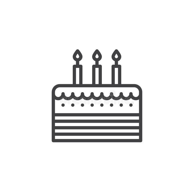 Linje symbol för födelsedagkaka stock illustrationer
