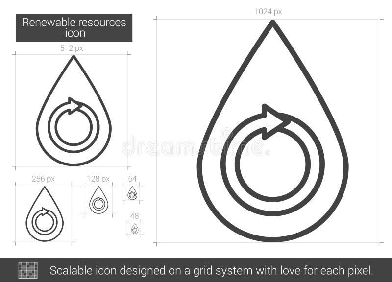 Linje symbol för förnybara resurser vektor illustrationer