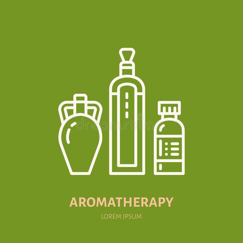 Linje symbol för flaska för nödvändiga oljor Vektorlogo för aromatherapylotionlager royaltyfri illustrationer