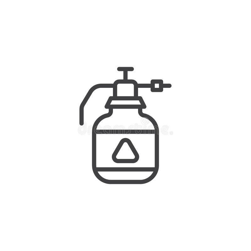 Linje symbol för flaska för utmatare för krypimpregneringsmedel stock illustrationer