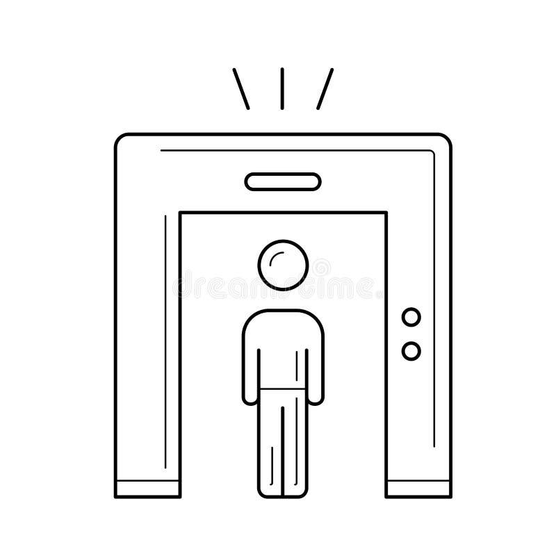 Linje symbol för flygplatssäkerhet royaltyfri illustrationer