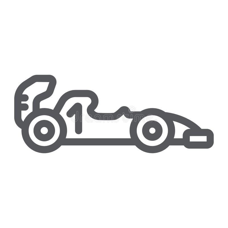 Linje symbol för formel 1, sport och bil, racerbiltecken, vektordiagram, en linjär modell på en vit bakgrund vektor illustrationer