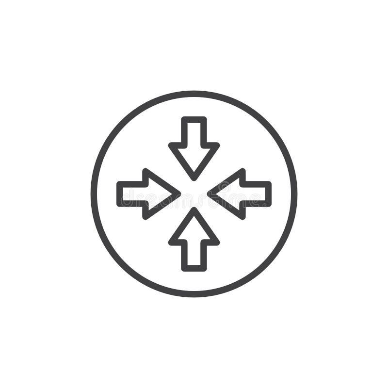Linje symbol för fyra pil royaltyfri illustrationer
