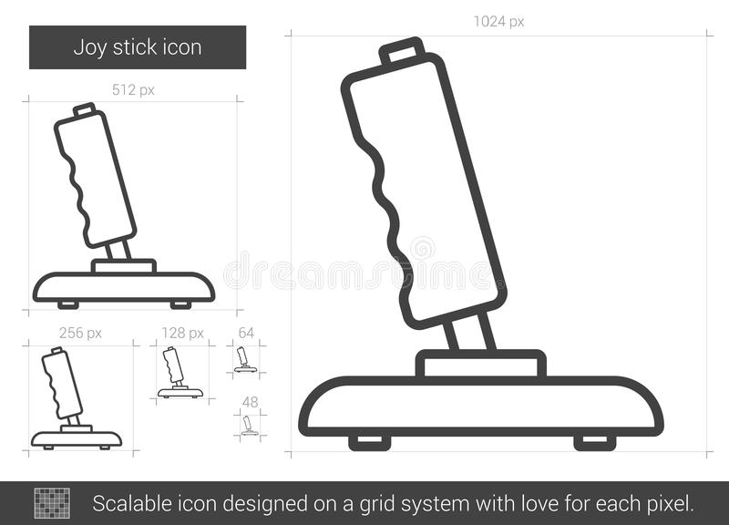 Linje symbol för glädjepinne stock illustrationer