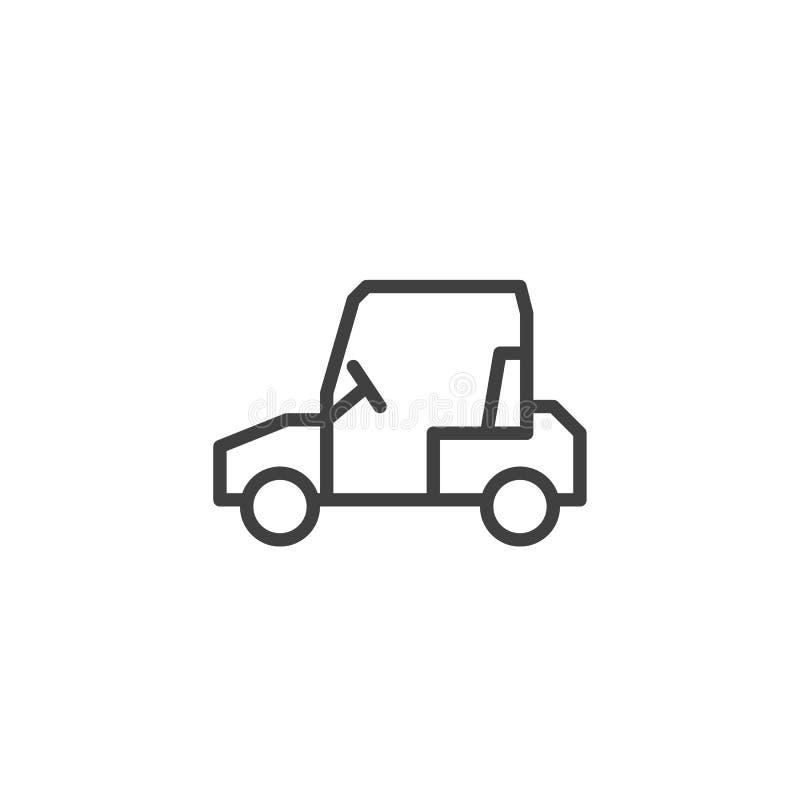 Linje symbol för golfvagn stock illustrationer