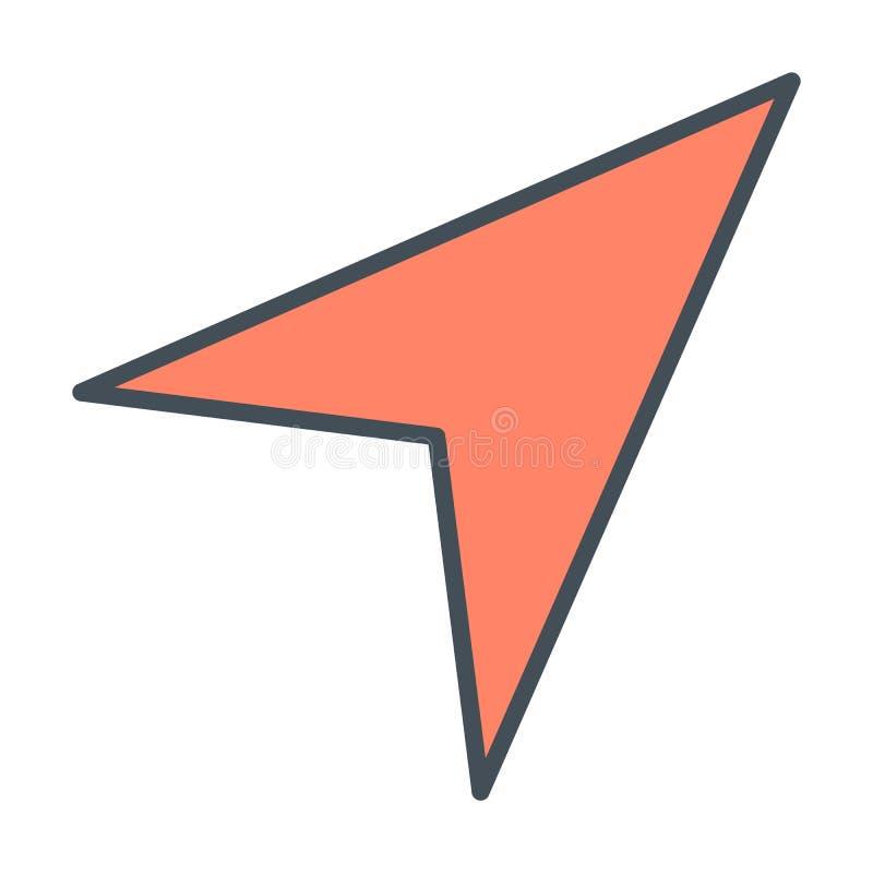 Linje symbol för Gps-navigeringpil också vektor för coreldrawillustration royaltyfri illustrationer