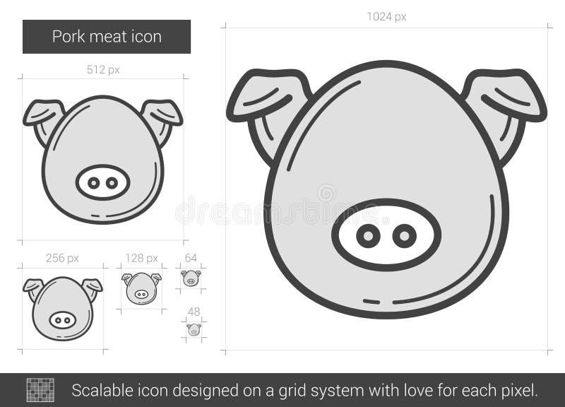 Linje symbol för grisköttkött vektor illustrationer