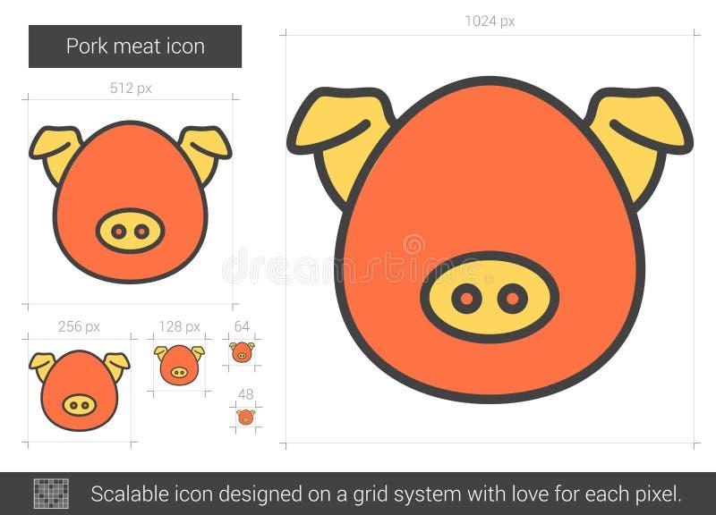 Linje symbol för grisköttkött stock illustrationer