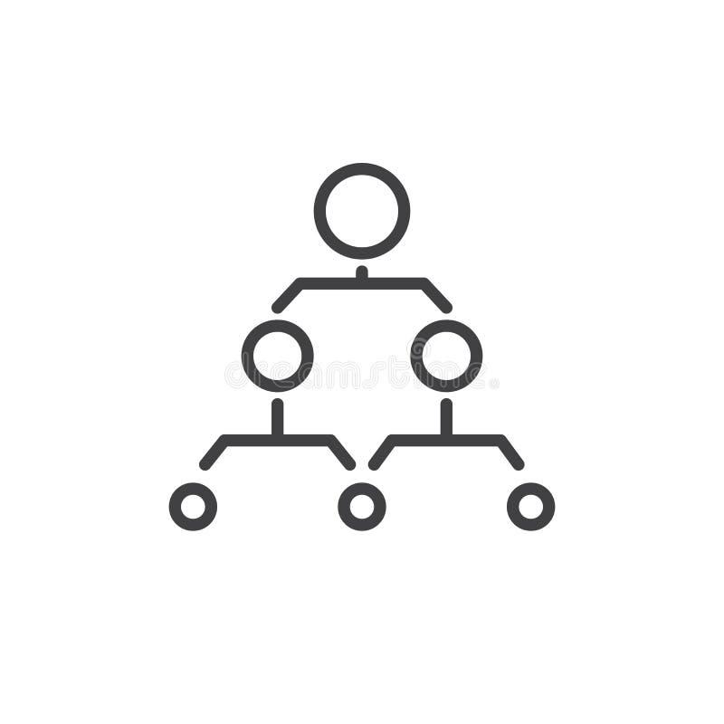 Linje symbol för hierarkisk struktur royaltyfri illustrationer
