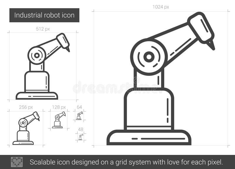 Linje symbol för industriell robot vektor illustrationer