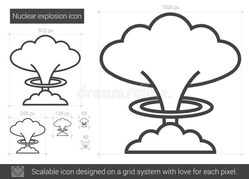 Linje symbol för kärn- explosion royaltyfri illustrationer