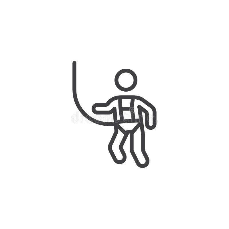 Linje symbol för klädersäkerhetssele vektor illustrationer