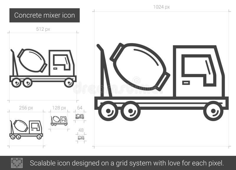 Linje symbol för konkret blandare royaltyfri illustrationer