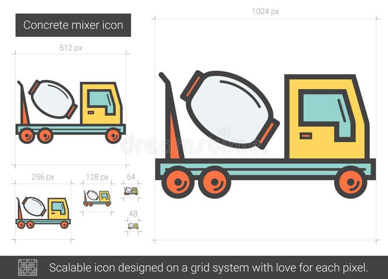 Linje symbol för konkret blandare stock illustrationer