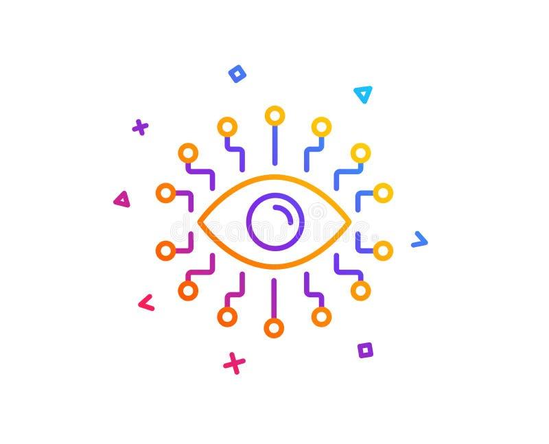 Linje symbol för konstgjord intelligens All-se ögontecknet vektor vektor illustrationer