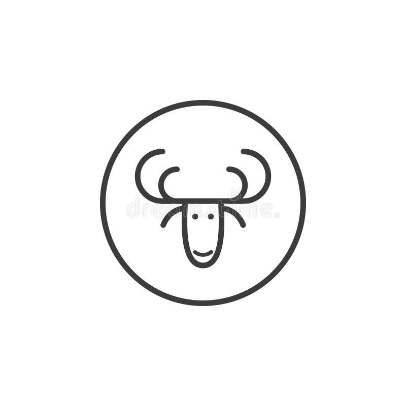 Linje symbol för konsthjorthuvud i den runda ramen stock illustrationer