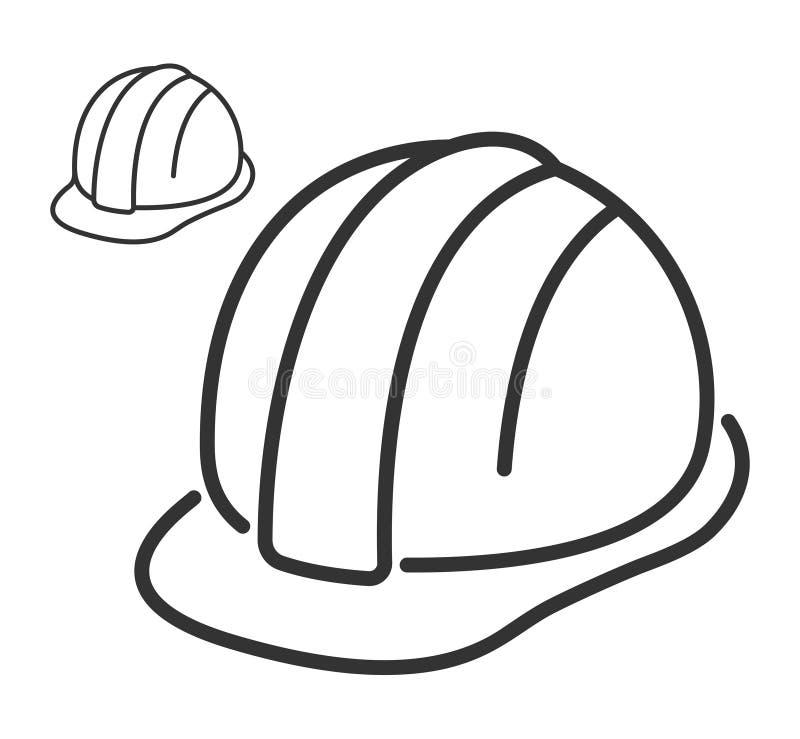 Linje symbol för konstruktionssäkerhetshjälm stock illustrationer