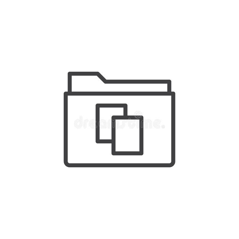 Linje symbol för kopia för dokument för mappmapp royaltyfri illustrationer