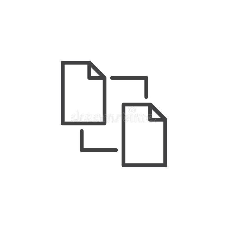 Linje symbol för kopieringsmappdokument stock illustrationer