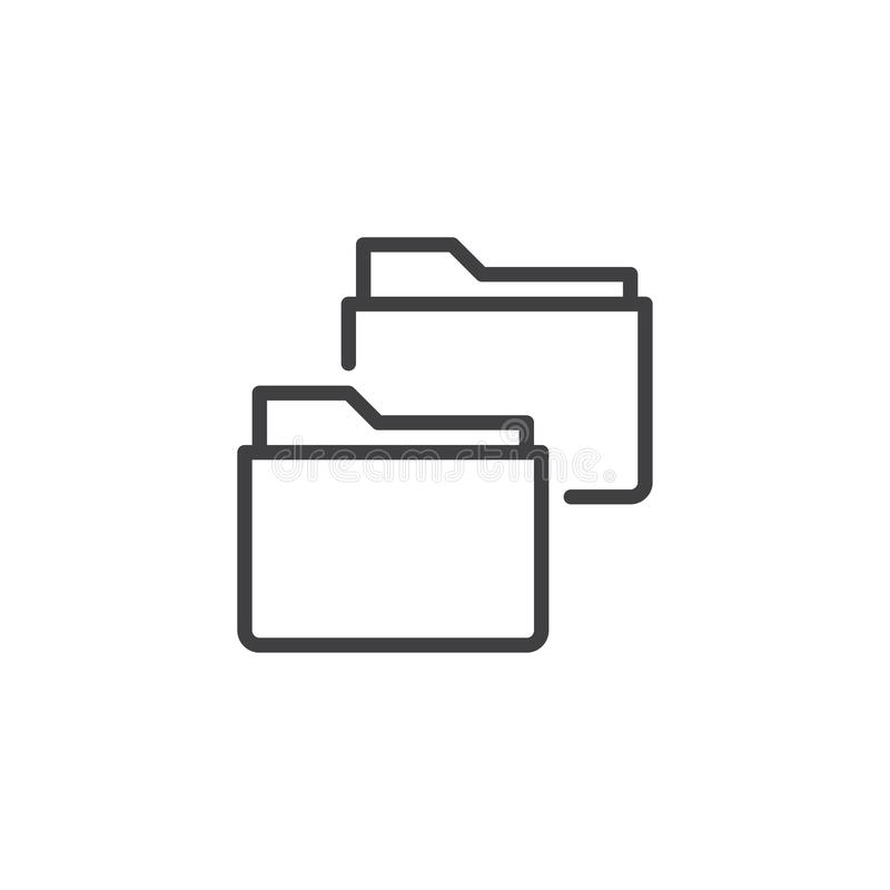 Linje symbol för kopieringsmappmappar vektor illustrationer