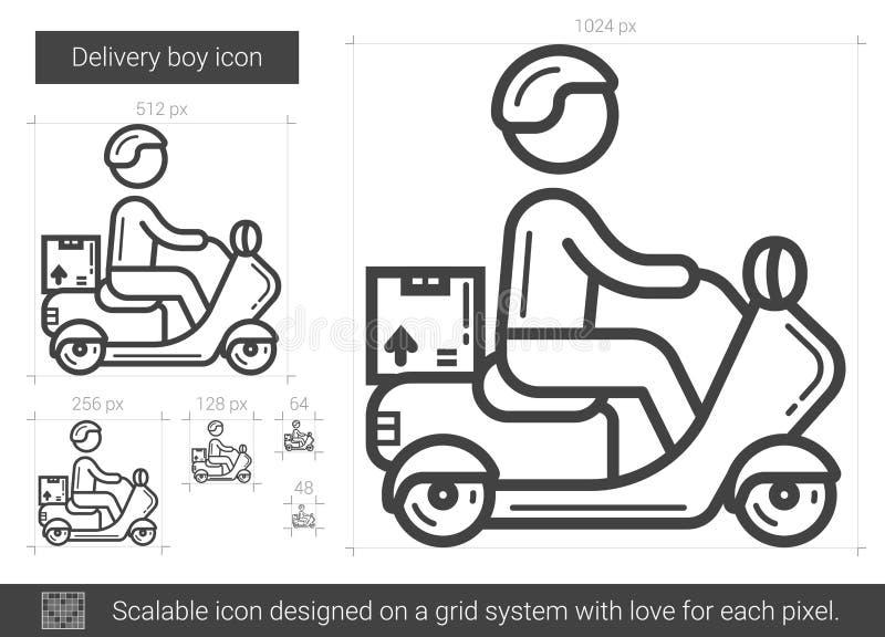 Linje symbol för leveranspojke vektor illustrationer