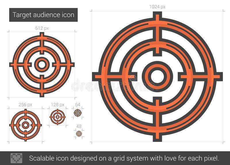 Linje symbol för målåhörare stock illustrationer