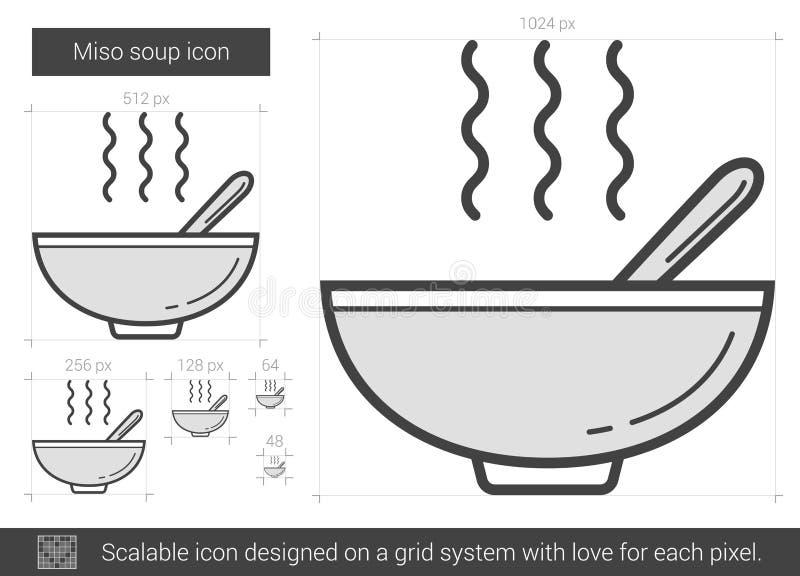 Linje symbol för Misosoppa vektor illustrationer