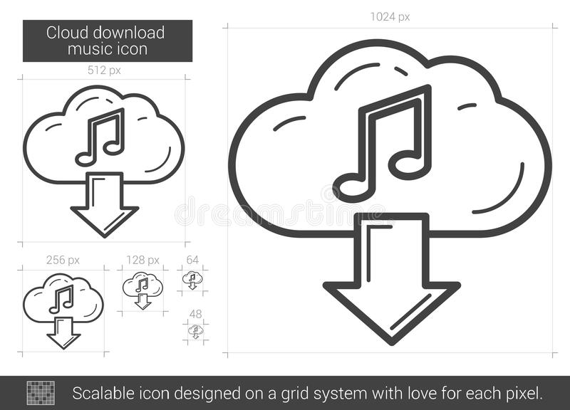 Linje symbol för molnnedladdningmusik royaltyfri illustrationer