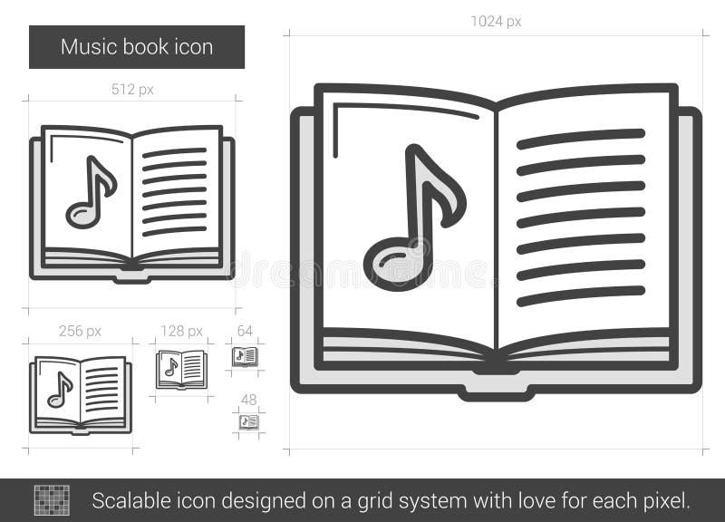 Linje symbol för musikbok vektor illustrationer