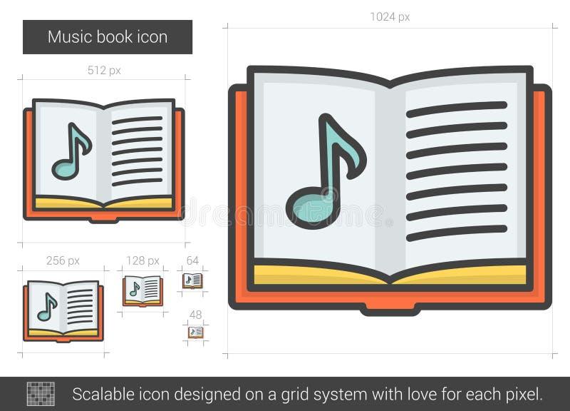 Linje symbol för musikbok stock illustrationer